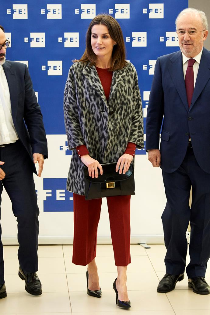 Queen Letizia in Madrid on January 29, 2019.