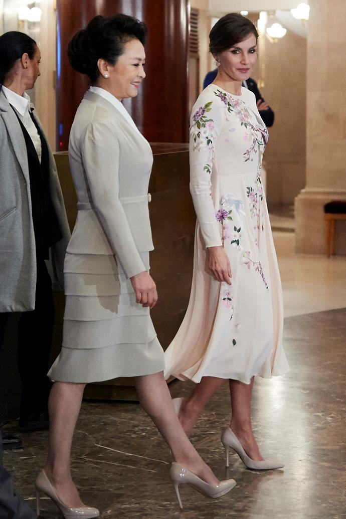 In an ASOS dress with Chinese First Lady Peng Liyuan on November 28, 2018.