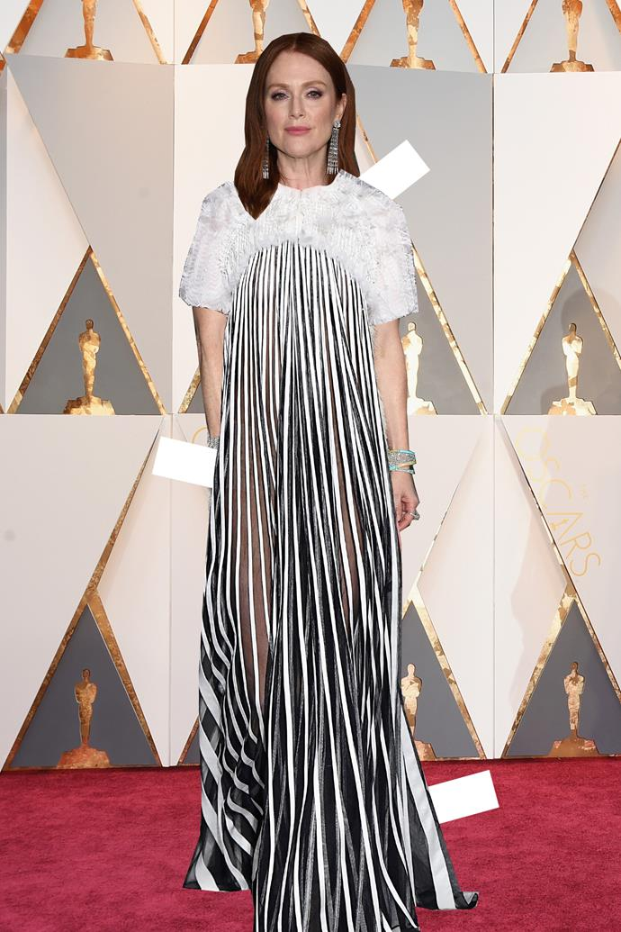 ***Julianne Moore in Givenchy***<br><br> If there's one thing we've come to expect from red-carpet powerhouse Julianne Moore it's modernism. This Givenchy piece takes all the hallmarks of awards season dressing and throws them on their head.