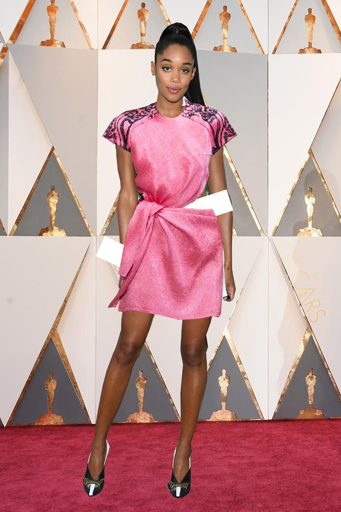 ***Laura Harrier in Louis Vuitton***<br><br> Never one to be afraid of colour, Laura Harrier is likely to turn to her favourite brand, Louis Vuitton, which she is an ambassador for. In our dreams, this shock-pink cut-out dress is full-length and paired with a red lip.