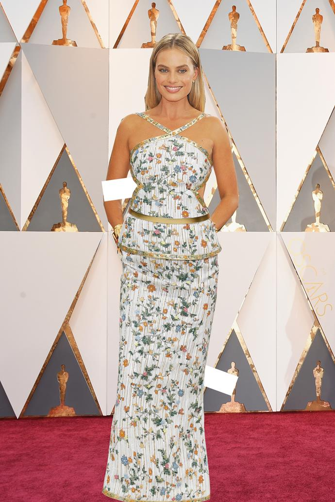 ***Margot Robbie in Chanel***<br><br> A true Chanel girl, through and through, Margot tends to gravitate towards their lighter, more streamlined pieces. This embroidered gown with crossing straps ticks all the boxes.