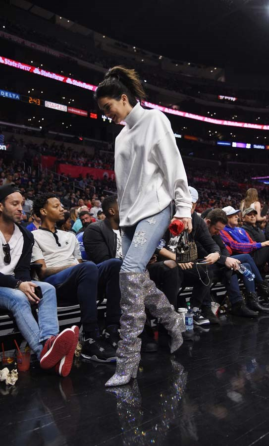 In $10,000 Saint Laurent boots to watch the LA Clippers and Memphis Grizzlies play on November 4th, 2017.