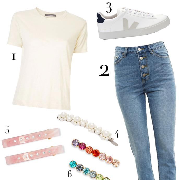 """1, Shirt by Jac + Jack, $80 at [Jac + Jack](https://jacandjack.com/products/cali-tee-spelt