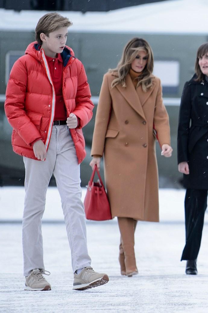 Melania Trump and her son Barron Trump on February 2, 2019.
