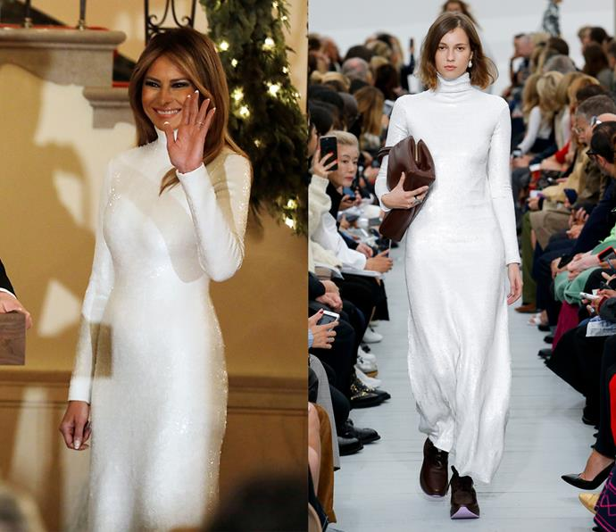 Melania Trump wearing spring/summer 2018.
