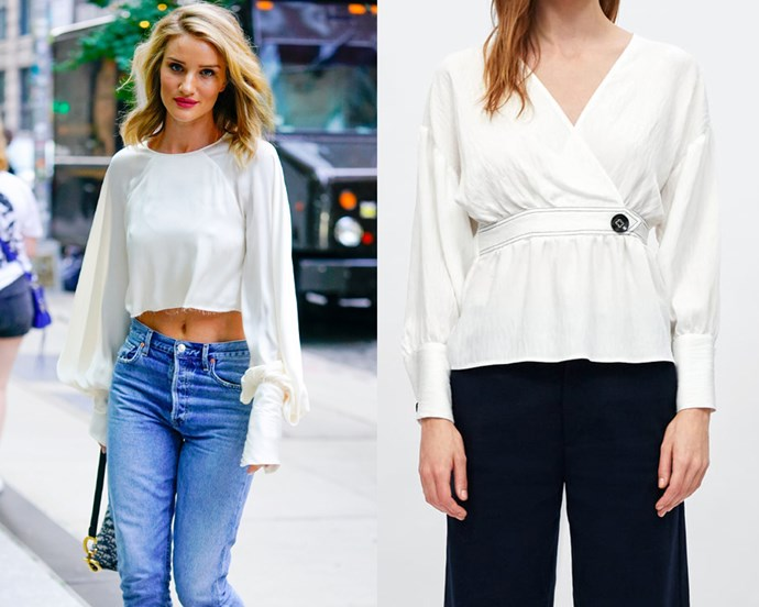 "***A dependable white blouse*** <br><br> A flowy, comfy white blouse is the backbone of any wardrobe; something supermodels already know. It's the style that can be paired with anything from jeans to a corporate pencil skirt, and you definitely don't need to spend hundreds of dollars on one. <br><br> *Blouse on right, $29.95 at [ZARA](https://www.zara.com/au/en/blouse-with-contrasting-topstitching-p01165157.html?v1=6647651&v2=1165580|target=""_blank""