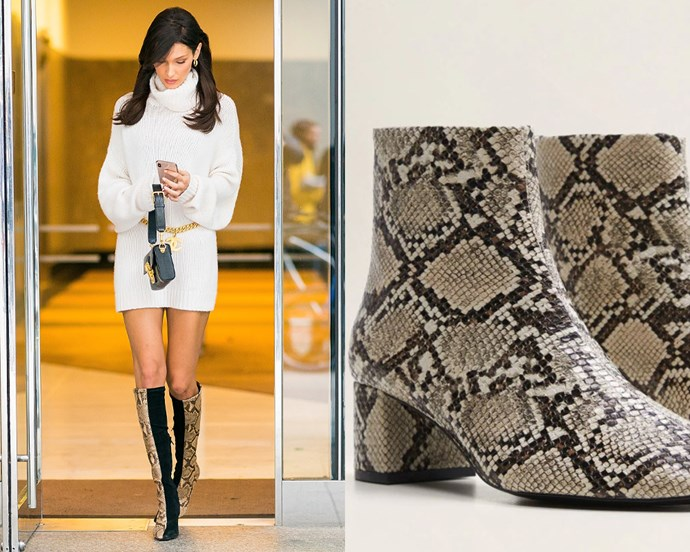 "***Python boots*** <br><br> The python trend has defied naysayers and is as zeitgeist-y as ever in 2019—perhaps stemming from nostalgia following Phoebe Philo's tenure at Celine. Regardless, there are plenty of affordable, cruelty-free snakeskin alternatives on the market for when you're ready to update your footwear collection. <br><br> *Boots on left, $99.95 at [MNG](https://shop.mango.com/au/women/shoes-boots-and-ankle-boots/snake-effect-ankle-boots_43090973.html?c=08&n=1&s=search|target=""_blank""