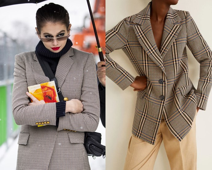 "***A checked blazer*** <br><br> Since grey blazers had their moment in 2018, the fashion world has moved on to the next best thing—checked blazers, of all varieties. High-street brands have caught on quickly, and delivered plenty of lower-priced alternatives, from the likes of [ZARA](https://www.zara.com/au/en/check-blazer-p02753241.html?v1=8437608&v2=1010155|target=""_blank""
