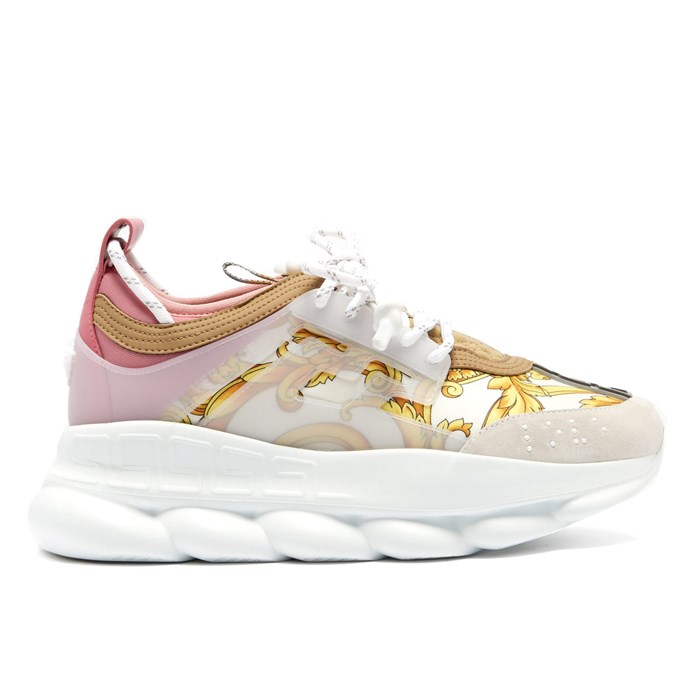 """***#2: Versace 'Chain Reaction' Sneakers*** <br> Versace's venture into the world of maximalist 'dad sneakers' was unsurprisingly a hole-in-one. Everyone from rappers to editors sported the 'Chain Reaction' sneakers, which can be purchased in either monochrome colourways or Versace's famous baroque print. <br><br> *Versace 'Chain Reaction' sneakers, $1,258 at [MATCHESFASHION](https://www.matchesfashion.com/au/products/Versace-Chain-Reaction-Baroque-print-trainers-1247176