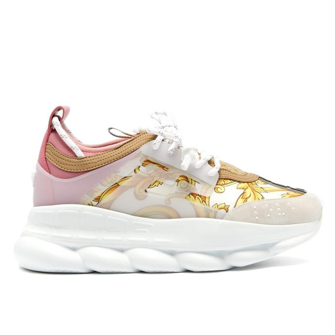 "***#2: Versace 'Chain Reaction' Sneakers*** <br> Versace's venture into the world of maximalist 'dad sneakers' was unsurprisingly a hole-in-one. Everyone from rappers to editors sported the 'Chain Reaction' sneakers, which can be purchased in either monochrome colourways or Versace's famous baroque print. <br><br> *Versace 'Chain Reaction' sneakers, $1,258 at [MATCHESFASHION](https://www.matchesfashion.com/au/products/Versace-Chain-Reaction-Baroque-print-trainers-1247176|target=""_blank""