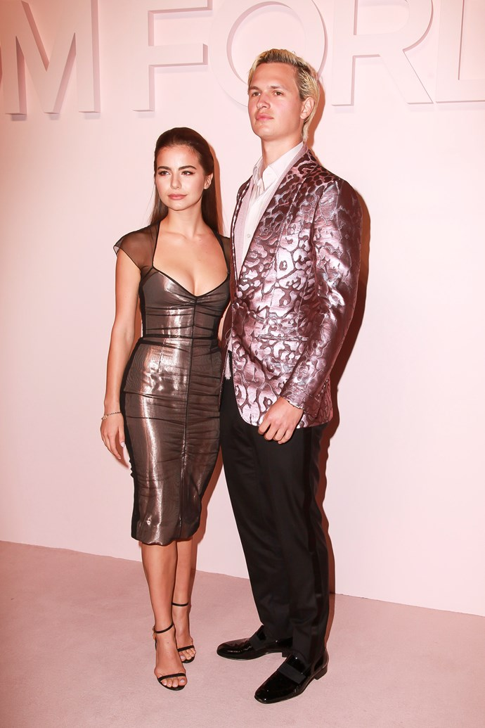 Violetta Komyshan and Ansel Elgort at Tom Ford.