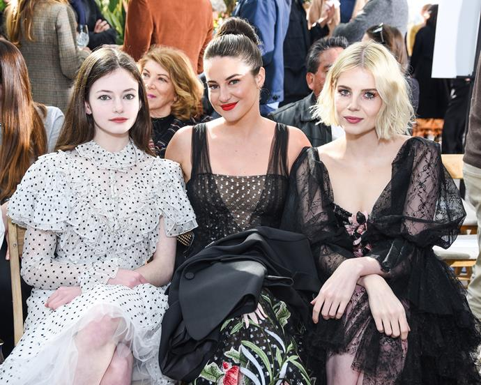 Mackenzie Foy, Shailene Woodley and Lucy Boynton at Rodarte.