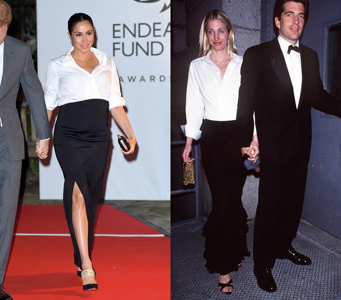 In a black maxi skirt worn with a white shirt and black heels<br><br> *Meghan in February 2019 / Carolyn in March 1999.*