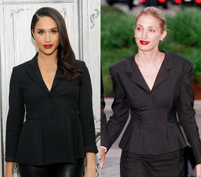 In a black blazer with a nipped waist, worn with a red lip<br><br> *Meghan in March 2016 / Carolyn in May 1999.*