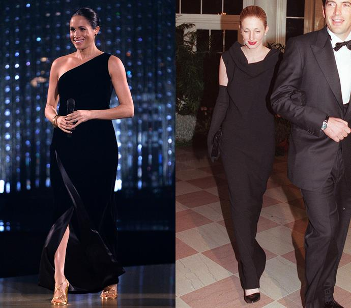 In a black sheath gown with a slick bun<br><br> *Meghan in December 2018 / Carolyn in February 1998.*