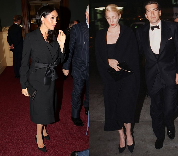 In a black midi coat worn over a black dress with black pumps<br><br> *Meghan in November 2018 / Carolyn in April 1998.*