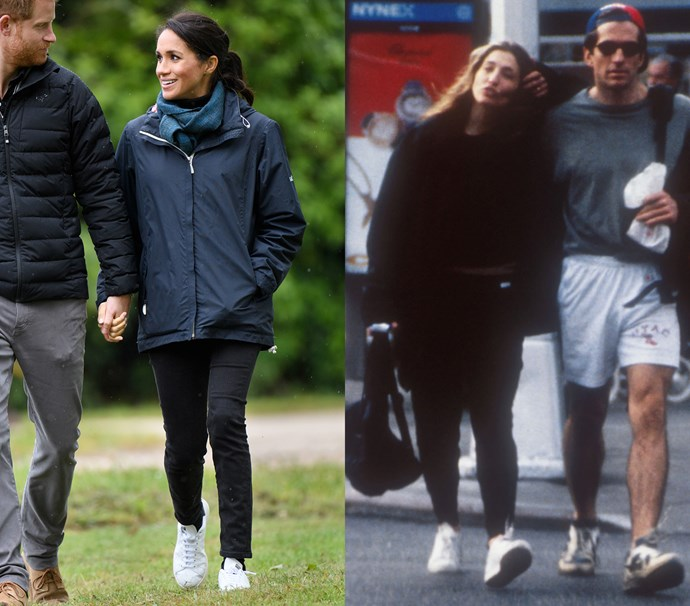 In black oversized activewear and white sneakers<br><Br> *Meghan in October 2018 / Carolyn in September 1999.*
