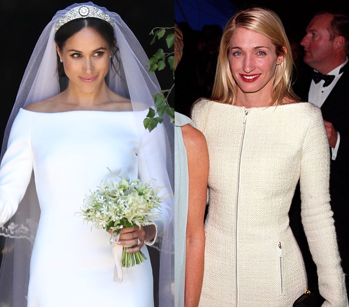 In a fitted white bateau-neck gown<br><br> *Meghan in May 2018 / Carolyn in December 1998.*