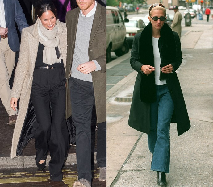 In flared trousers, a blazer-coat and a scarf<br><br> *Meghan in January 2018 / Carolyn in October 1996.*