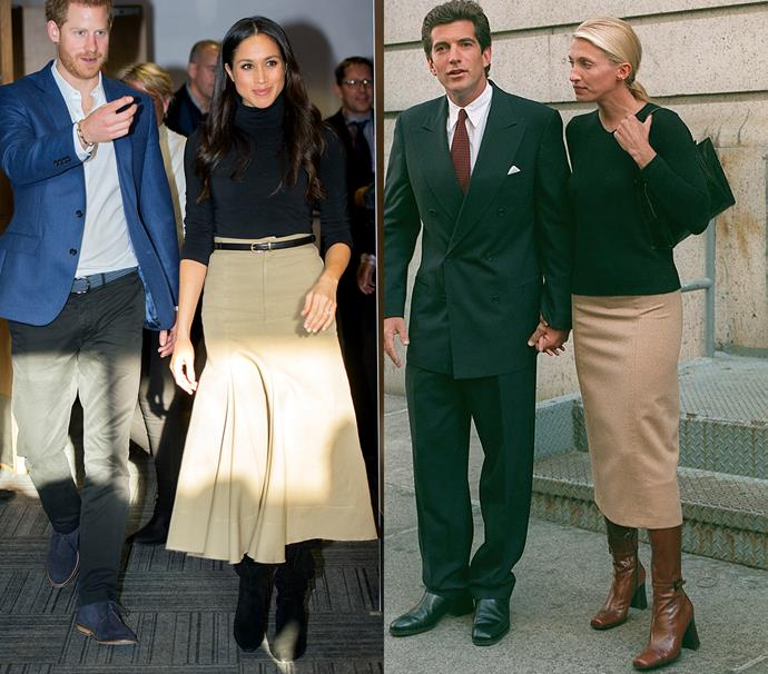 In a black sweater, camel midi skirt and leather boots<br><br> *Meghan in December 2017 / Carolyn in October 1996.*