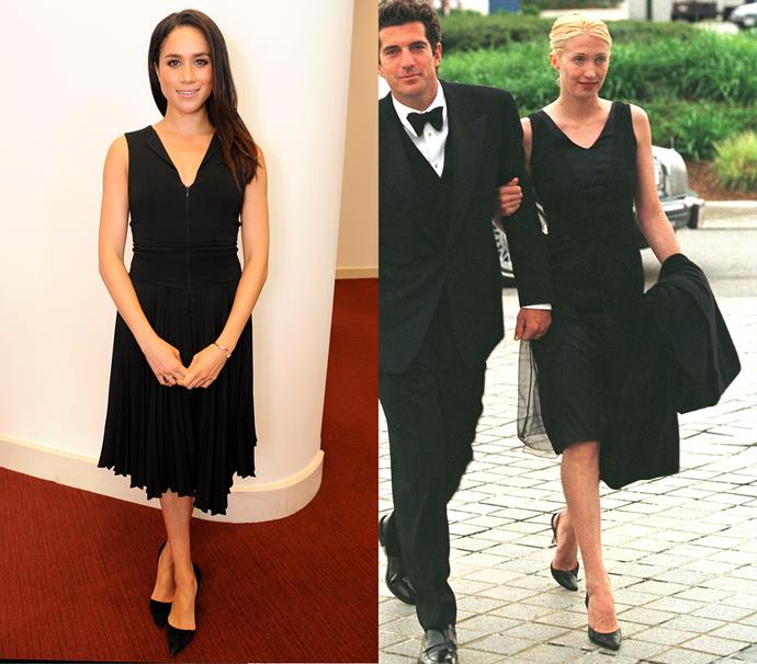 In a black knee-length dress with v-neckline and black pumps<br><br> *Meghan in October 2014 / Carolyn in May 1997.*
