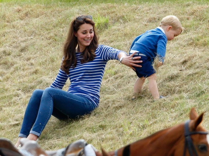 Giving Prince George a helping hand in 2015.