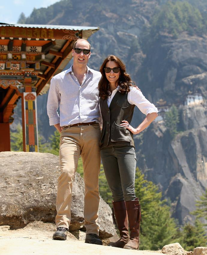 With Prince William in Bhutan in 2016.