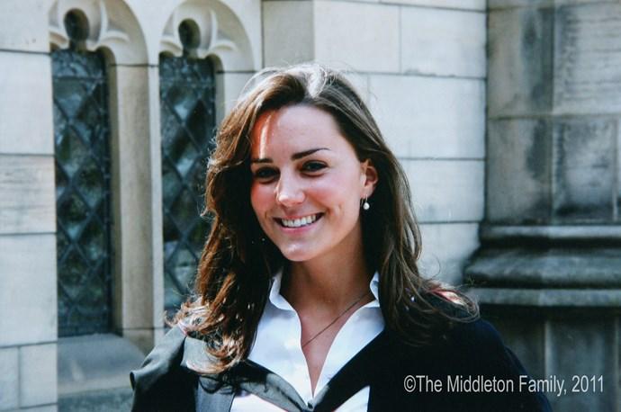 Attending her university graduation in Scotland in 2005.