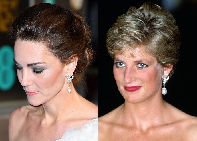 """***Diana's South-Sea Pearl Earrings***<br><br> At the [2019 BAFTAs](https://www.harpersbazaar.com.au/fashion/baftas-2019-red-carpet-18077