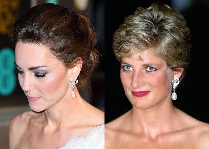 "***Diana's South-Sea Pearl Earrings***<br><br> At the [2019 BAFTAs](https://www.harpersbazaar.com.au/fashion/baftas-2019-red-carpet-18077|target=""_blank""), Kate Middleton wore Diana's ""South-Sea Pearl Earrings,"" a favourite of hers throughout the 90s. The diamond-knot earrings suspend a large set of south-sea pearls. Kate wore them with the pearls swapped out for a smaller pair from the Collingwood suite."