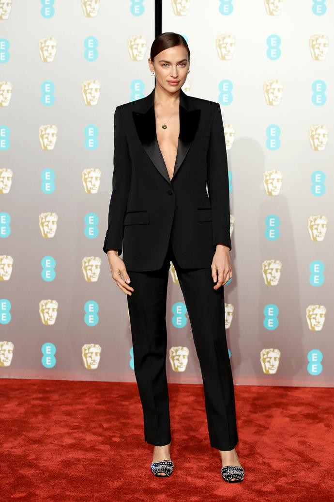 Irina Shayk at the BAFTAs in London on February 10, 2019.