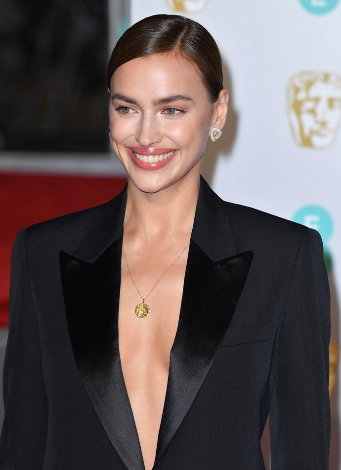 Irina Shayk at the BAFTAs in London on February 10, 2019.