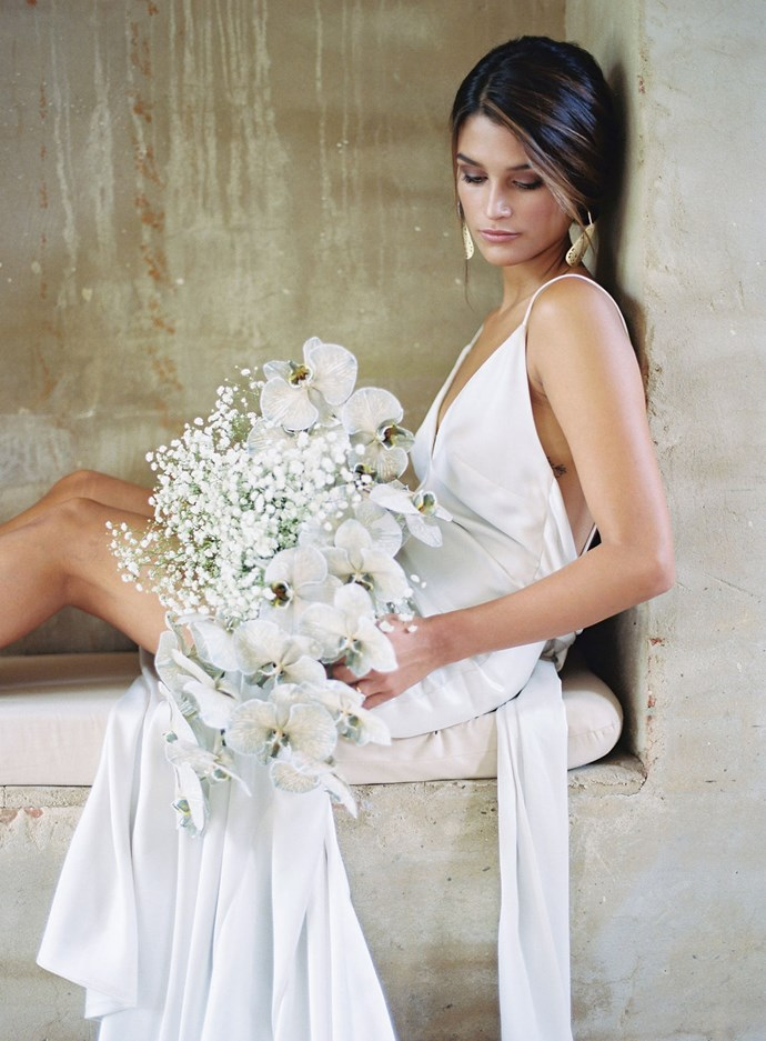 The bride with her bouquet.