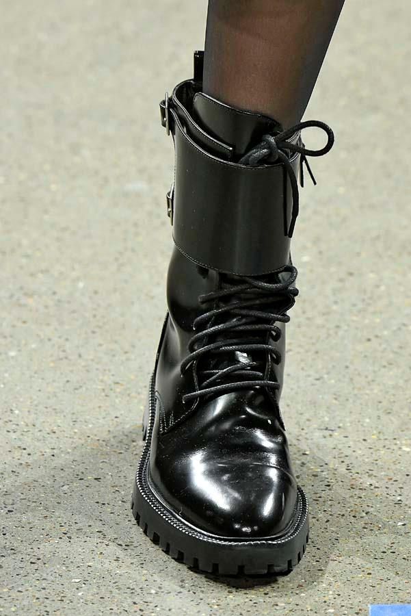***Thy Shalt Pick A Strong Boot***<br><br> Flat or heeled, a utilitarian boot is the chicest way to stomp into winter. Buckled down, laced up and made for your trudge through puddles to the train stop, a good pair will toughen up any look. <br><br> Pictured: Nicole Miller autumn/winter '19.