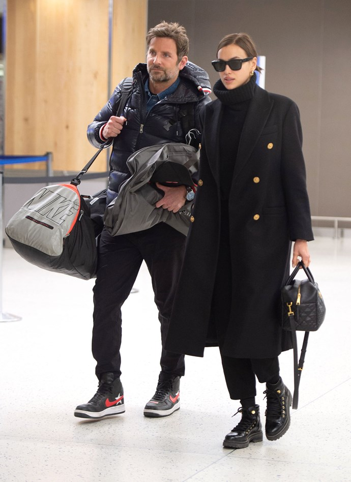 ***February 7, 2019*** <br> Arriving in London for the 2019 BAFTAs, Cooper and Shayk made for one of the world's chicest in-transit couples.