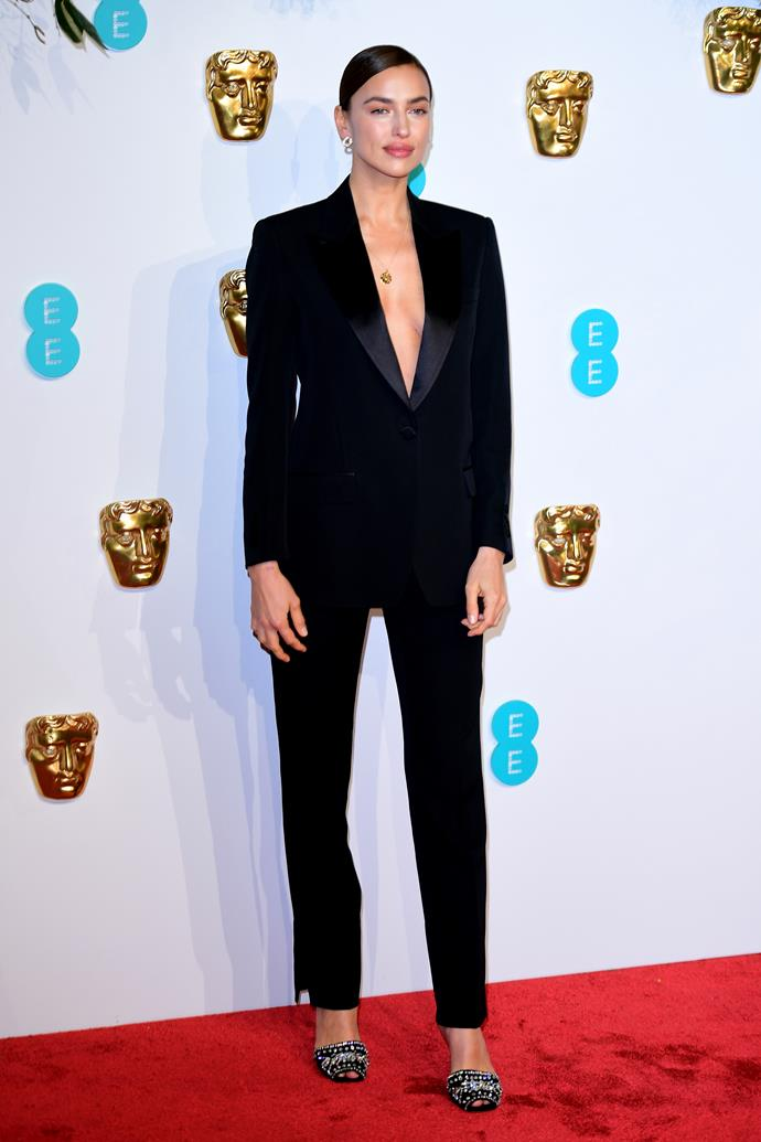 ***February 10, 2019*** <br> Shayk attended the BAFTAs to support Cooper, but the two chose to walk the red carpet separately. However, the supermodel stunned in a plunging suit designed by her close friend, Burberry creative director Riccardo Tisci.