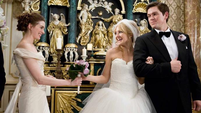 ***Bride Wars*** <br><br> Two best friends, played by Anne Hathaway and Kate Hudson, become enemies when they schedule their respective weddings on the same day at their dream venue.