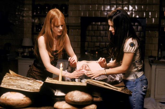***Practical Magic*** <br><br> In director Griffin Dunne's romantic comedy, sisters Sally (Sandra Bullock) and Gillian (Nicoel Kidman) are modern-day witches whose love lives are complicated by an unusual curse.