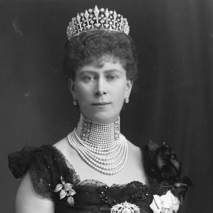 **The tiara:** The Surrey Fringe.<br><br> **The history:** This spire-based tiara was a gift to Queen Mary of Teck by the County of Surrey, but was later dismantled. Its diamonds were used to form part of the Girls of Great Britain and Ireland tiara. <br><br>