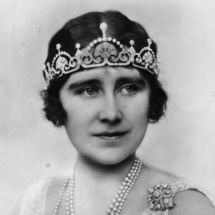 **The tiara:** The Lotus Flower Tiara.<br><br> **The history:** Made from a necklace given to the future Queen Mother, this tiara has a distinct 'lotus' motif. Both Queen Elizabeth and Princess Margaret wore it regularly. It is now worn by Catherine, Duchess of Cambridge.<br><br> **The current wearer:** Catherine, Duchess of Cambridge.<br><br>