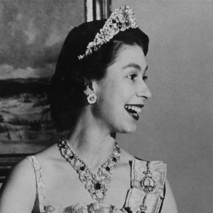 **The tiara:** The Nizam of Hyderabad Tiara.<br><br> **The history:** As its name suggests, this tiara was given to Princess Elizabeth on her wedding day by Nizam of Hyderabad. It was later dismantled to make another tiara.<br><br>