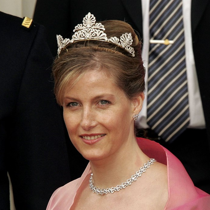**The tiara:** Sophie, Countess of Wessex's, wedding tiara.<br><br> **The history:** Without an official name, this tiara was given to Sophie Rhys-Jones for her wedding. It's rumoured to have been made from another dismantled necklace or tiara. <br><br> **The current wearer:** Sophie, Countess of Wessex.<br><br>