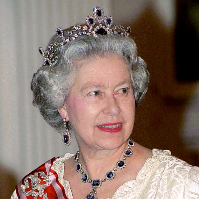 **The tiara:** The Modern Sapphire Tiara.<br><br> **The history:** Originally belonging to Princess Louise of Belgium in 1858, the Queen bought this tiara to add to her collection.<br><br> **The current wearer:** Queen Elizabeth II.<br><br>