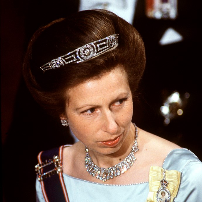 **The tiara:** The Meander Tiara.<br><br> **The history:** As you can tell by the Greek design, this tiara was originally owned by Princess Andrew of Greece.<br><br> **The current wearer:** Anne, Princess Royal.<br><br>