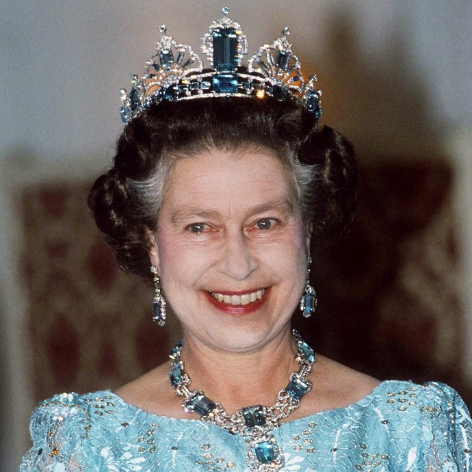 **The tiara:** The Brazilian Aquamarine Parure Tiara.<br><br> **The history:** This tiara comes as part of a set gifted to Queen Elizabeth II for her coronation in 1953 by the President of Brazil. It is made up of emerald-cut aquamarines and diamonds. <br><br> **The current wearer:** Queen Elizabeth II.<br><br>
