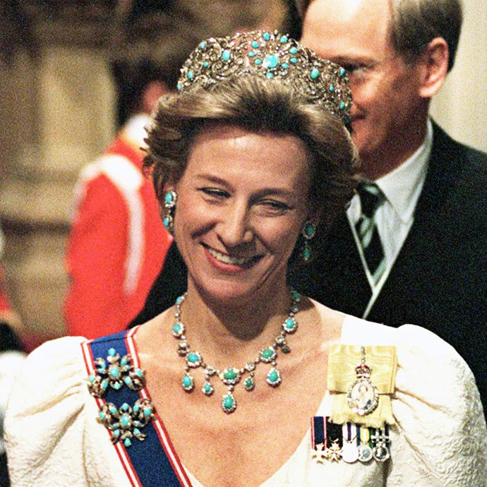 **The tiara:** The Teck Turquoise Tiara.<br><br> **The history:** Another tiara made for Queen Mary of Teck, this huge turquoise tiara comes as part of a set including earrings, a necklace, rings and brooches.<br><br> **The current wearer:** Birgitte, Duchess of Gloucester. <br><br>