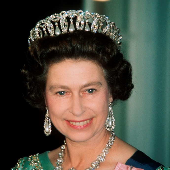 **The tiara:** The Grand Duchess Vladimir Tiara.<br><br> **The history:** Created for Grand Duchess Maria Pavlovna of Russia, this tiara is made up of 15 diamond circles interlinked. The hanging pearls can be swapped out for diamonds or emeralds.<br><br> **The current wearer:** Queen Elizabeth II.<br><br>