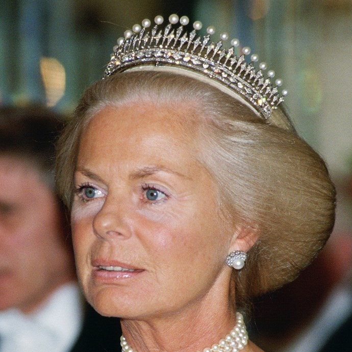 **The tiara:** The Kent Diamond and Pearl Fringe Tiara.<br><br> **The history:** This 'comb'-style tiara was originally owned by Queen Mary of Teck. <br><br> **The current wearer:** The Duchess of Kent.<br><br>