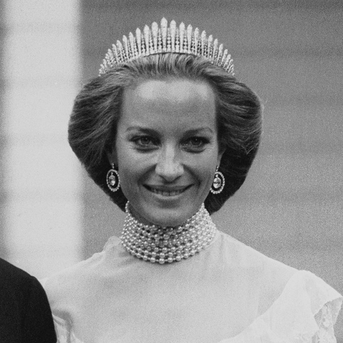 **The tiara:** The Kent City of London Fringe Tiara.<br><br> **The history:** As the name suggests, the City of London gave this tiara to Princess Marina on her wedding day. It features diamond spires set in gold.<br><br> **The current wearer:** Princess Michael of Kent.<br><br>