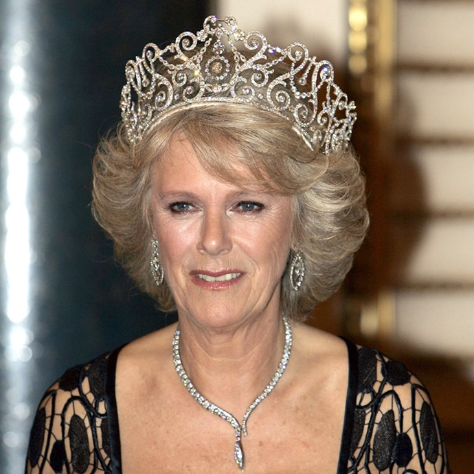 **The tiara:** The Delhi Durbar Tiara.<br><br> **The history:** One of the biggest tiaras in the collection, this platinum and gold piece features lyres, scrolls and festoons. <br><br> **The current wearer:** Camilla, Duchess of Cornwall.<br><br>